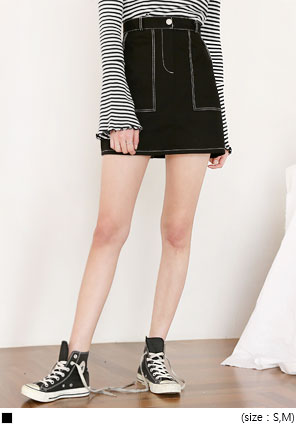 [SKIRT] TIKA STITCH COTTON MINI SKIRTWITH CELEBRITY _  한지민 착용