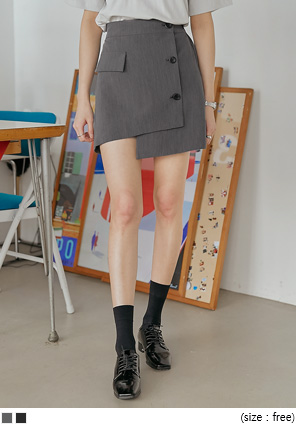 [SKIRT] PEROM UNBAL BUTTON MINI SKIRT