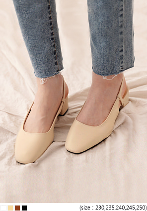 [SHOES] SQUARE SLINGBACK MIDDLE HEEL